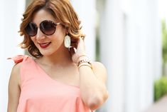 Blame it on Mei Miami Fashion Blogger 2016 Stripe Twill Shorts One Shoulder Top Lace Up Sandals Steve Maden WerkIt Round Sunglasses Gucci Soho Summer Outfit Casual Look Fall in Miami