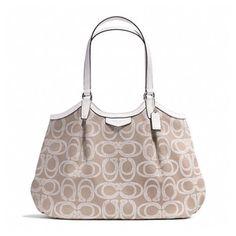 Coach NWT Signature Stripe Rope Print Shoulder Bag. Starting at $10 on Tophatter.com! Coach Handbags, Bucket Bag, Shoulder Bag, Canvas Prints, Tote Bag, My Style, Silver, Shopping, Money