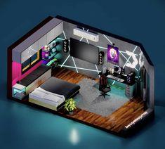 Living Room Setup, Bedroom Setup, Room Design Bedroom, Bedroom Layouts, Room Ideas Bedroom, Cool Secret Rooms, Deco Gamer, Small Game Rooms, Cool Room Designs