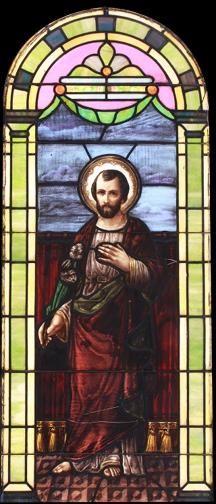 Vintage Saint Joseph Church Stained Glass Window DESCRIPTION: Vintage Saint Joseph church stained glass window.