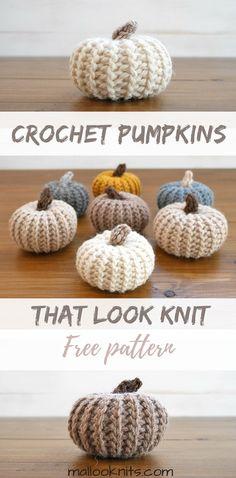 #Free #Crochet Pattern. Pumpkins that look like they were knit