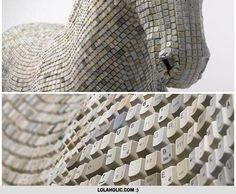 Giant Horse Made From Keyboard Keys