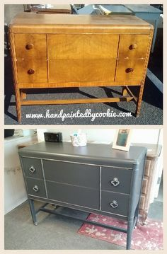 painted in Sherwin Williams web gray with silver accents. Changed out handles for a more modern look. Grey Furniture, Country Furniture, Paint Furniture, Repurposed Furniture, Furniture Makeover, Vintage Furniture, Furniture Decor, Dyi, Shabby Vintage