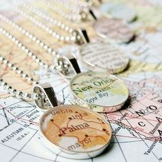 DLK Designs, LLC - Vintage Map Sterling Silver Round Necklace. You Select the Journey.