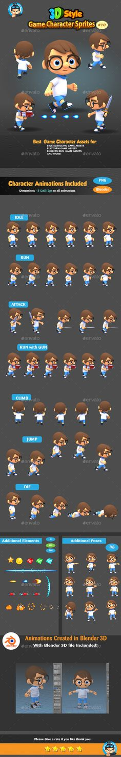 3D Rendered Game Character Sprites Design Template 10 - Sprites Game Assets Design Template Vector EPS, AI Illustrator. Download here: https://graphicriver.net/item/3d-rendered-game-character-sprites-10/19332246?ref=yinkira