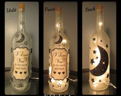 I love you to the moon and back Wine Bottle by NightLightsbyLori