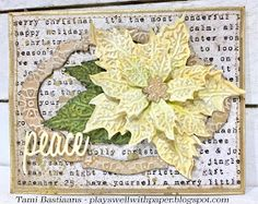 Plays Well With Paper: Tattered Poinsettia Christmas card Simple Christmas Cards, Christmas Tag, Xmas Cards, Christmas Projects, Handmade Christmas, Holiday Cards, Christmas 2019, Poinsettia Cards, Embossed Cards