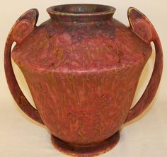 Roseville Pottery Carnelian II Red Vase 334-8 from Just Art Pottery