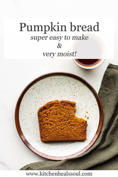 This easy recipe for pumpkin bread makes a lightly spiced loaf cake that is very moist and perfect for your fall baking list! No mixer needed!