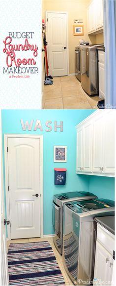 Bright & happy organized laundry room makeover - Under $100!
