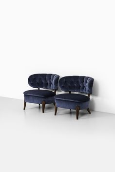 Otto Schultz easy chairs in blue velvet by Boet at Studio Schalling