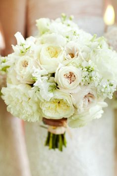 #Bouquet: Creamy White + Blush   See the wedding on #SMP Weddings: http://www.stylemepretty.com/2013/02/06/virginia-backyard-wedding-from-ritzy-bee-events Jennifer Hughes Photography