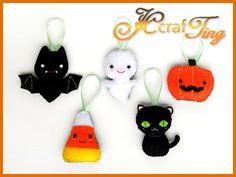 Cute Felt Ornaments - Halloween Set - Bat / Ghost / Pumpkin / Candy Corn / Black Cat. via Etsy.