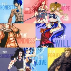 Fairy Tail... I'm not sure I agree with Grey representing honesty. There WAS that whole fake hunting Natsu thing.