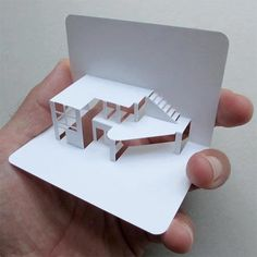 Pop-up Business Cards This pop up business card for an architect is simple but highly effective. This pop-up effect could be used for a number of different designs, suitable for different businesses. Kirigami, 3d Business Card, Creative Business, Business Branding, Paper Architecture, Architecture Design, Architecture Models, Business Architecture, Architecture Portfolio