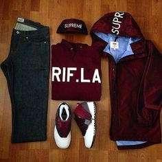 Outfit grid - Burgundy & black