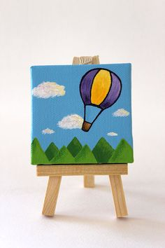 Hot air balloon Children's art, Mini Painting of yellow and purple Hot Air… Small Canvas Paintings, Small Canvas Art, Cute Paintings, Mini Canvas Art, Acrylic Painting Canvas, Kids Canvas, Canvas Art Projects, Air Balloon, Purple Yellow