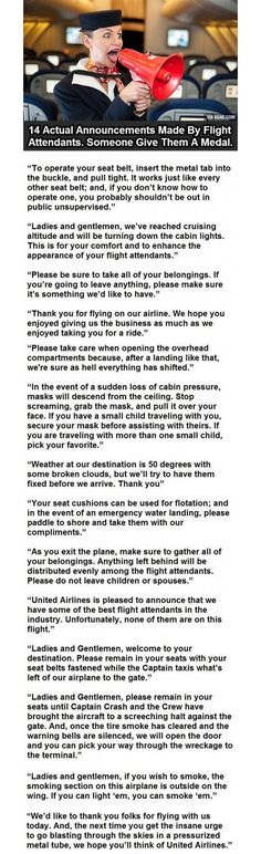 14 Hilarious Annoucements Made By Flight Attendants