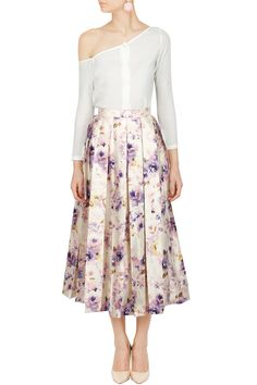 Long Skirts, Ivory one shoulder top with floral midi skirt