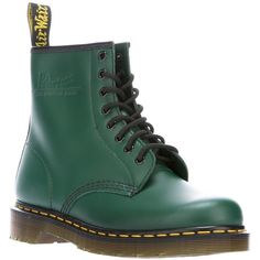 DR. MARTENS '1469' 8 eyelet boot ($170) ❤ liked on Polyvore featuring shoes, boots, slip on boots, black boots, chunky lace up boots, green leather boots and black lace up boots