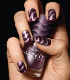 Sophisticated looking Ombre nail art design in violet and black polish. Stand…