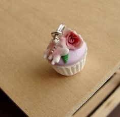 Fondant Rose Cupcake Pendant by fairchildart for $22.00
