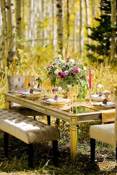 Juxtaposition of an elegant Tablescape in a rustic wooded setting. ❤❤
