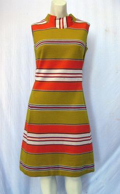 Vintage Mod Orange and Yellow Striped Shift by CaliforniaZephyr