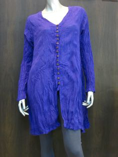 Organic Thai Cotton Hand Made Long Sleeve Dress Royal Blue with buttons down the front $22.00 at http://www.suredesigntshirts.com