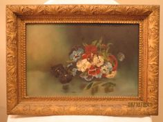 """Antique 19th Century Oil on floral Board Painting Signed """"ERM""""  Victorian"""