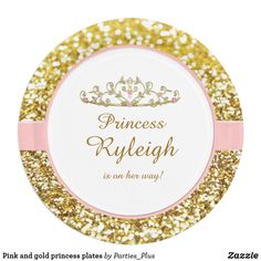Pink and gold princess plates