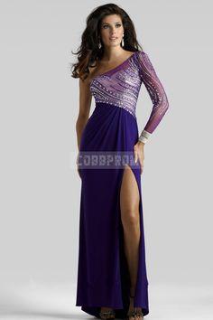 A-line Floor Length Asymmetric Waist One Shoulder Chiffon 3/4 Length Sleeve Prom Dress