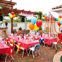 Carnival themed party set up. Primary colors