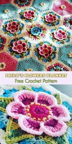 Crochet afghans 550002173238747945 - Frida's Flowers and Frida's Flowers Blanket [Free Crochet Pattern] ONLY FREE crocheting patterns for Amigurumi, Toys, Afghans, Baby Blankets, New Stitches and Tutorials and many more! Mandala Au Crochet, Crochet Puff Flower, Crochet Flower Patterns, Crochet Blanket Patterns, Crochet Motif, Crochet Flowers, Crochet Stitches, Knitting Patterns, Crochet Ideas