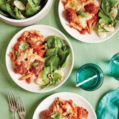 Meatball and Ziti Bake| CookingLight.com #myplate #protein #fruit #dairy #wholegrain