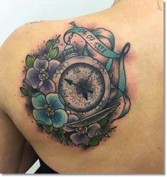 pocket watch tattoo on back