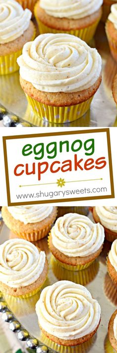 These Eggnog Cupcakes are made from scratch with my favorite spice cake and topped with creamy eggnog frosting. The perfect holiday treat!