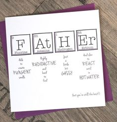 Father Birthday Gifts Father's Day Periodic Table Birthday Fun by ThePaperScientist Diy Father's Day Gifts, Father's Day Diy, Diy Gifts For Dad, Homemade Dad Gifts, Diy Christmas Gifts For Dad, Grandpa Gifts, Party Gifts, Gifts For Mom, Funny Birthday Cards