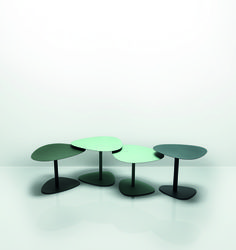 Sunda 1 is a collection of plectrum shaped tables in four different heights and three top sizes that can be layered and clustered. The tables are manufactured from laser cut, sheet steel and available in a range of fifteen finely textured mineral based powder coat finishes.
