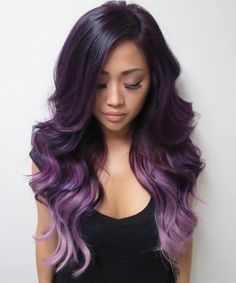 Purple Ombre For Brunettes  Purple Violet Red Cherry Pink Bright Hair Colour Color Coloured Colored Fire Style curls haircut lilac lavender short long mermaid blue green teal orange hippy boho ombré   Pulp Riot