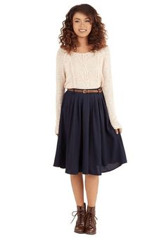 ModCloth | Breathtaking Tiger Lilies Skirt in Navy #modcloth #skirt