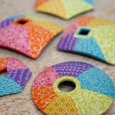 Patchwork Saucers via silk screen ~ Polymer Clay Tutorials