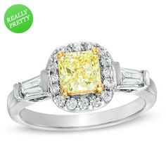 I've tagged a product on Zales: 1-1/10 CT. T.W. Certified Cushion-Cut Yellow Diamond Frame Engagement Ring in 18K White Gold (P/SI2)