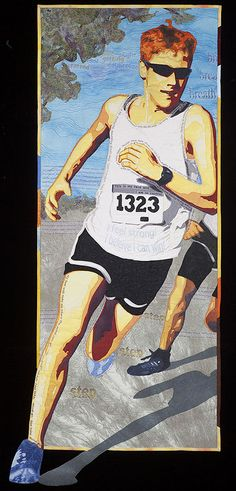 "Running Commentary, 21"" x 51"", art quilt by Lea McComas."
