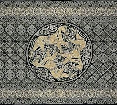 Handmade 100% Cotton Celtic Horse Tapestry Tablecloth Twin Beige Green 70x106