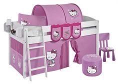 Grenen halfhoogslaper 'Hello Kitty Pink' | Halfhoogslapers en hoogslapers