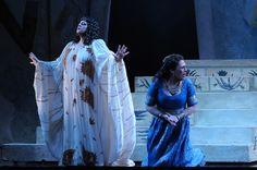 Jill Grove as Amneris & Sondra Radvanovsky as Aida: Lyric Opera. Photo by Dan Rest. Lyric Opera, Metropolitan Opera, Cot, Chicago, Costumes, Stars, Celebrities, Crib Bedding, Celebs