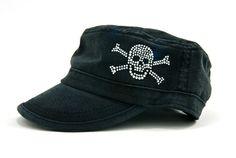 Ladies Fidel Cap with Skull & Crossed Bones Dolly Mama Designs.  Buy it @ ReadyGolf.com.