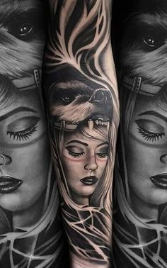 "Today we bring to you Hot Tattoos for Summer "". Tattoos are images made in the skin with ink and a needle, to decorate the skin. Sketch Tattoo Design, Tatoo Designs, Tattoo Sleeve Designs, Wolf Tattoo Sleeve, Forearm Tattoo Men, Sleeve Tattoos, Wolf Girl Tattoos, Girl Face Tattoo, Neue Tattoos"