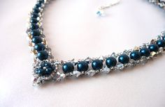 Dark Teal Blue & Silver Beaded Jewelry Necklace by MelJoyCreations. $69.00... I could totally make this for less than that.
